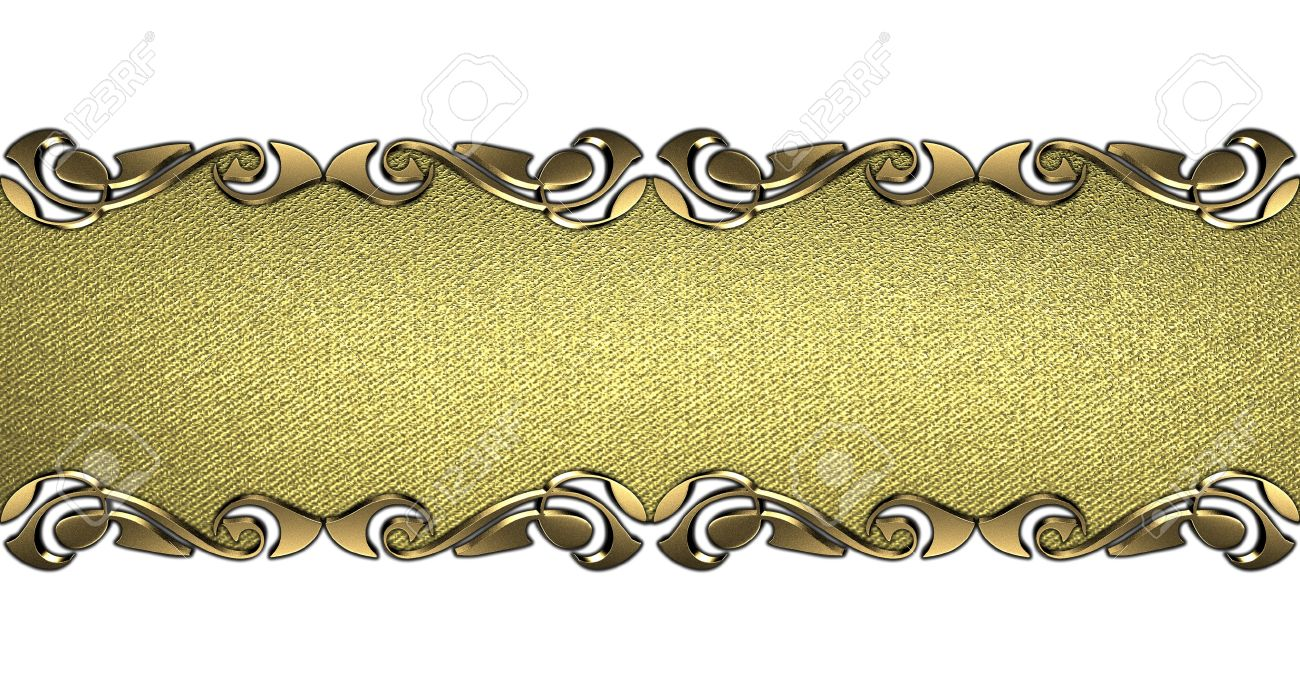 Design Template Golden Nameplate With Patterns On The Edges - Name plate template