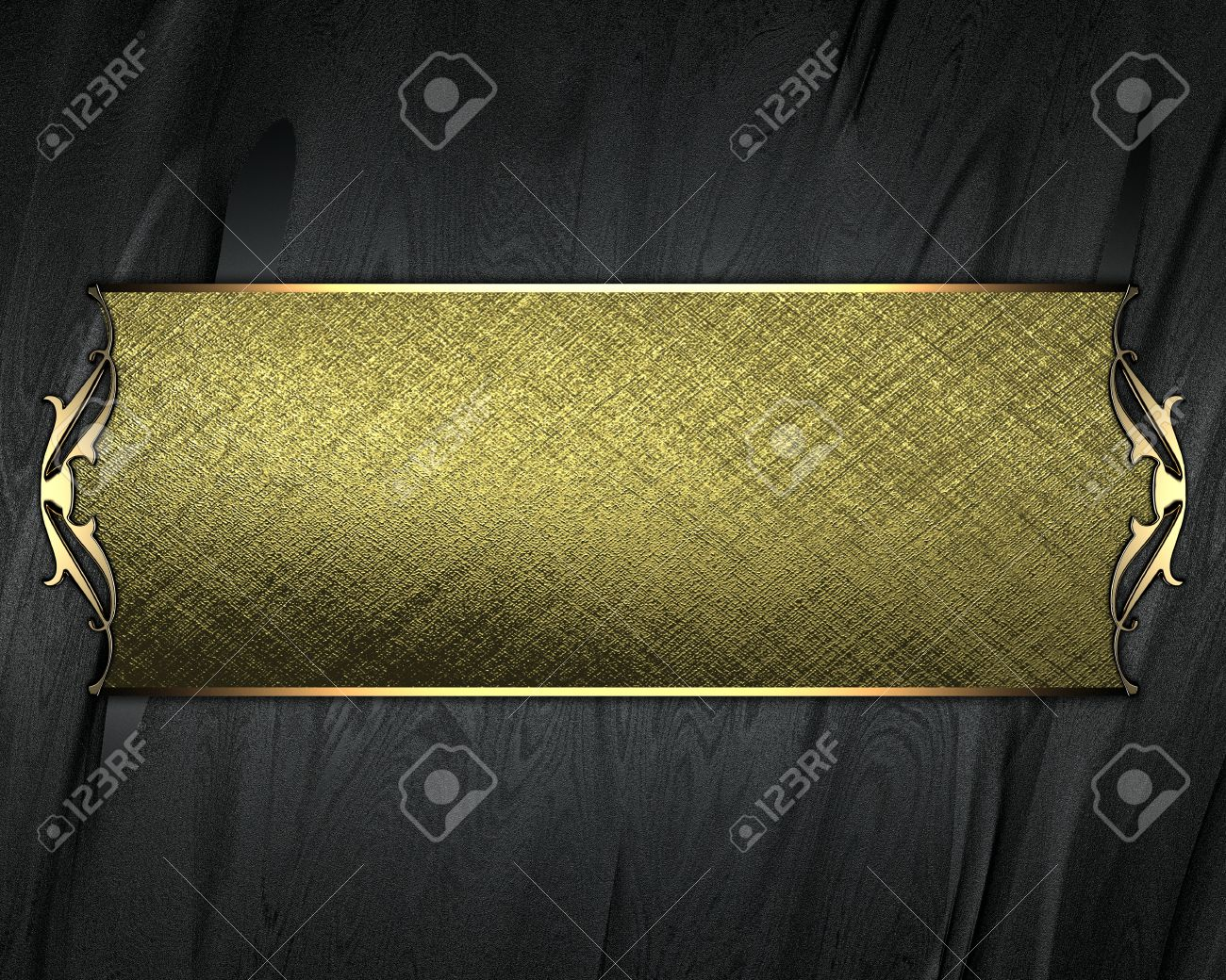 Design template - Black Background with gold plate and a beautiful gold trim Stock Photo - 16685849