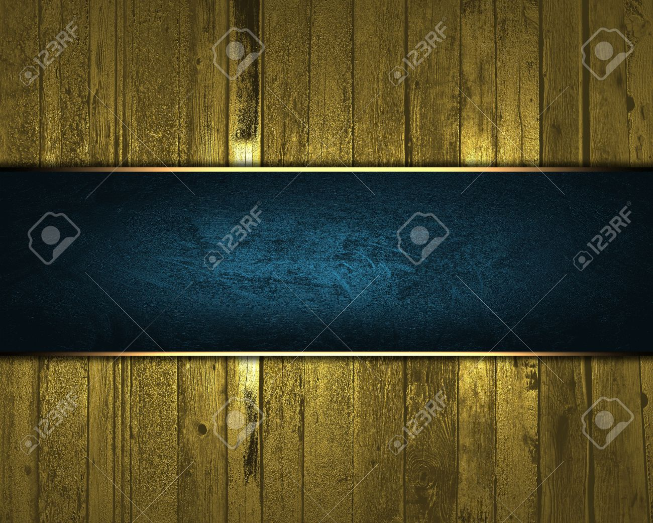 Nameplate Template | Design Template Gold Wooden Texture With Blue Nameplate For