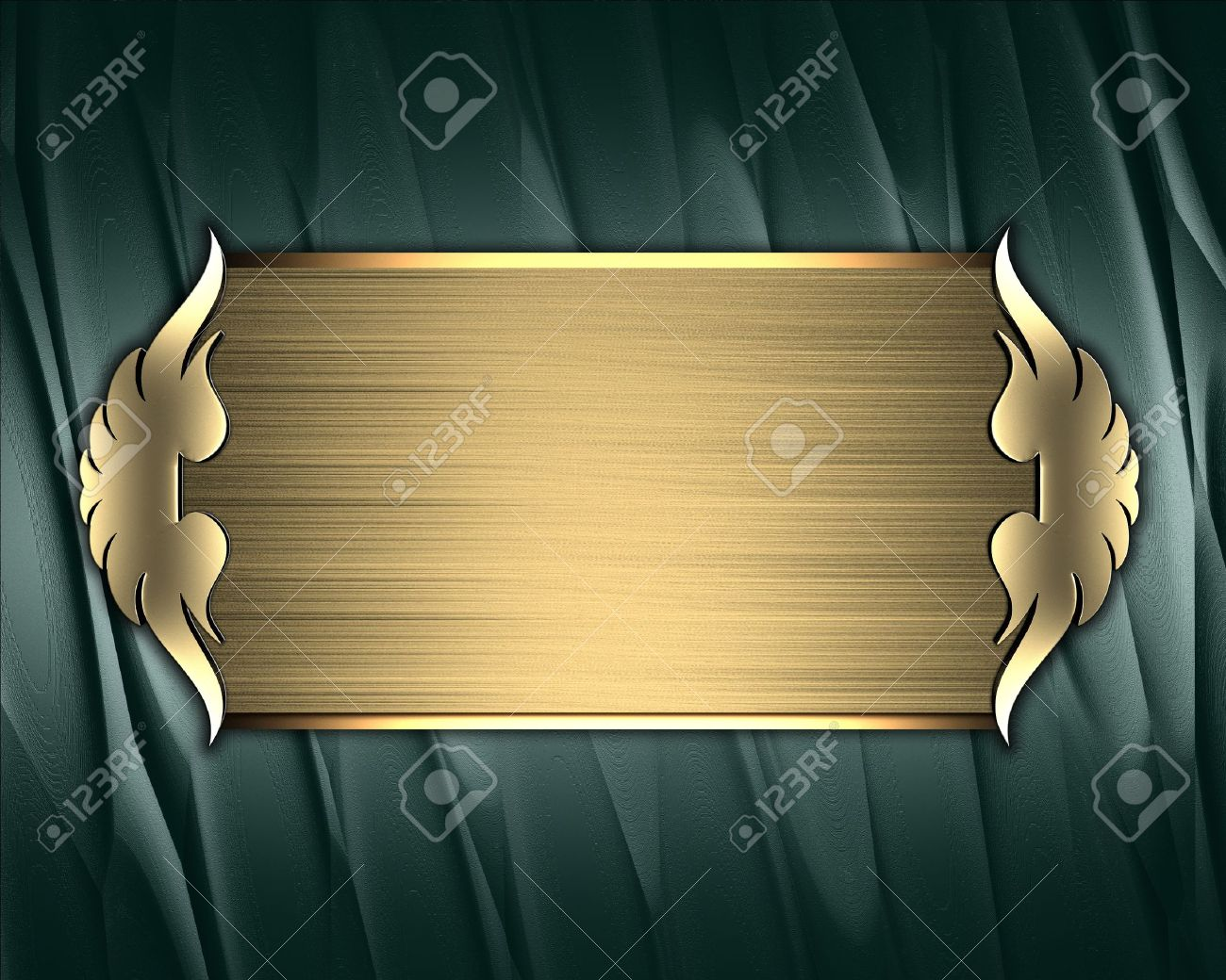 Design Template Green Texture With Gold Nameplate And Gold Stock - Name plate template