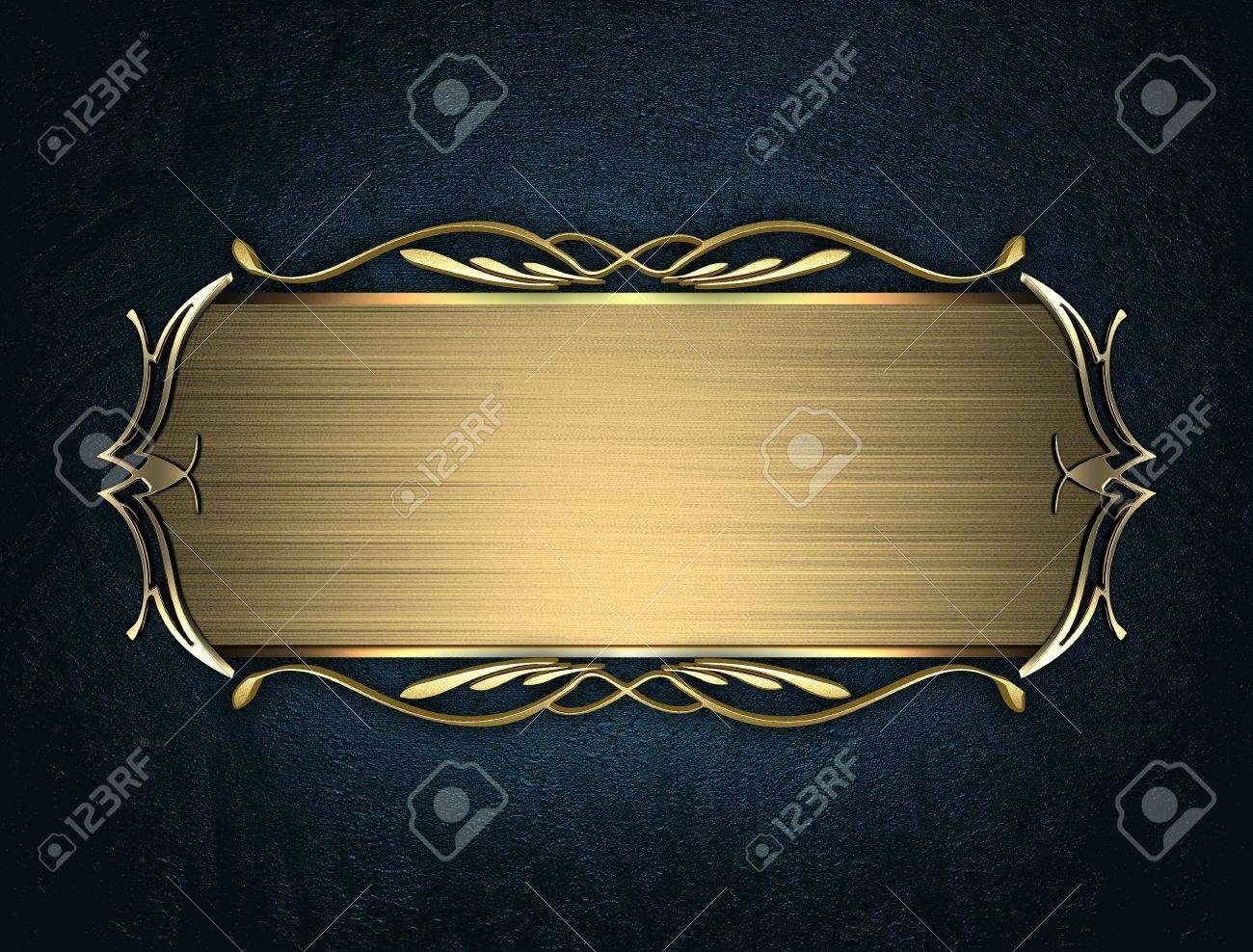 Design Template Blue Texture With Beautiful Gold Name Plate