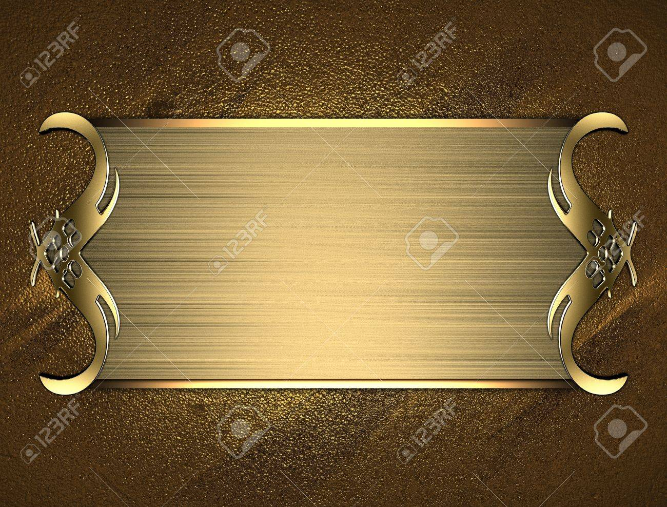 Template for writing. Gold name plate with gold ornate edges, on gold background Stock Photo - 17430768