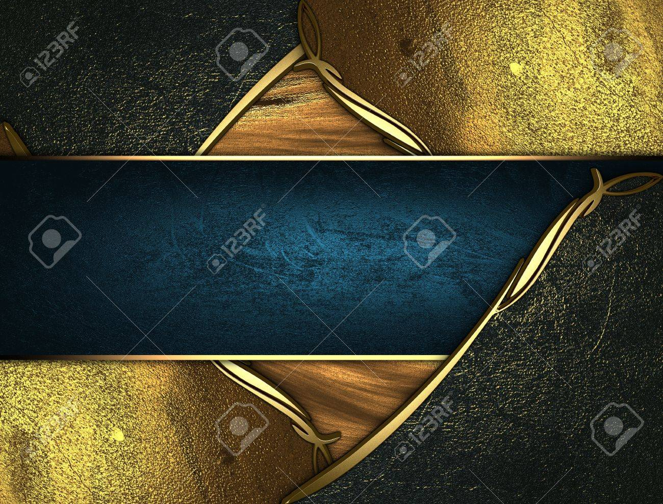 Design template - Gold texture with golden and black edges gold trim and blue name plate Stock Photo - 17706465