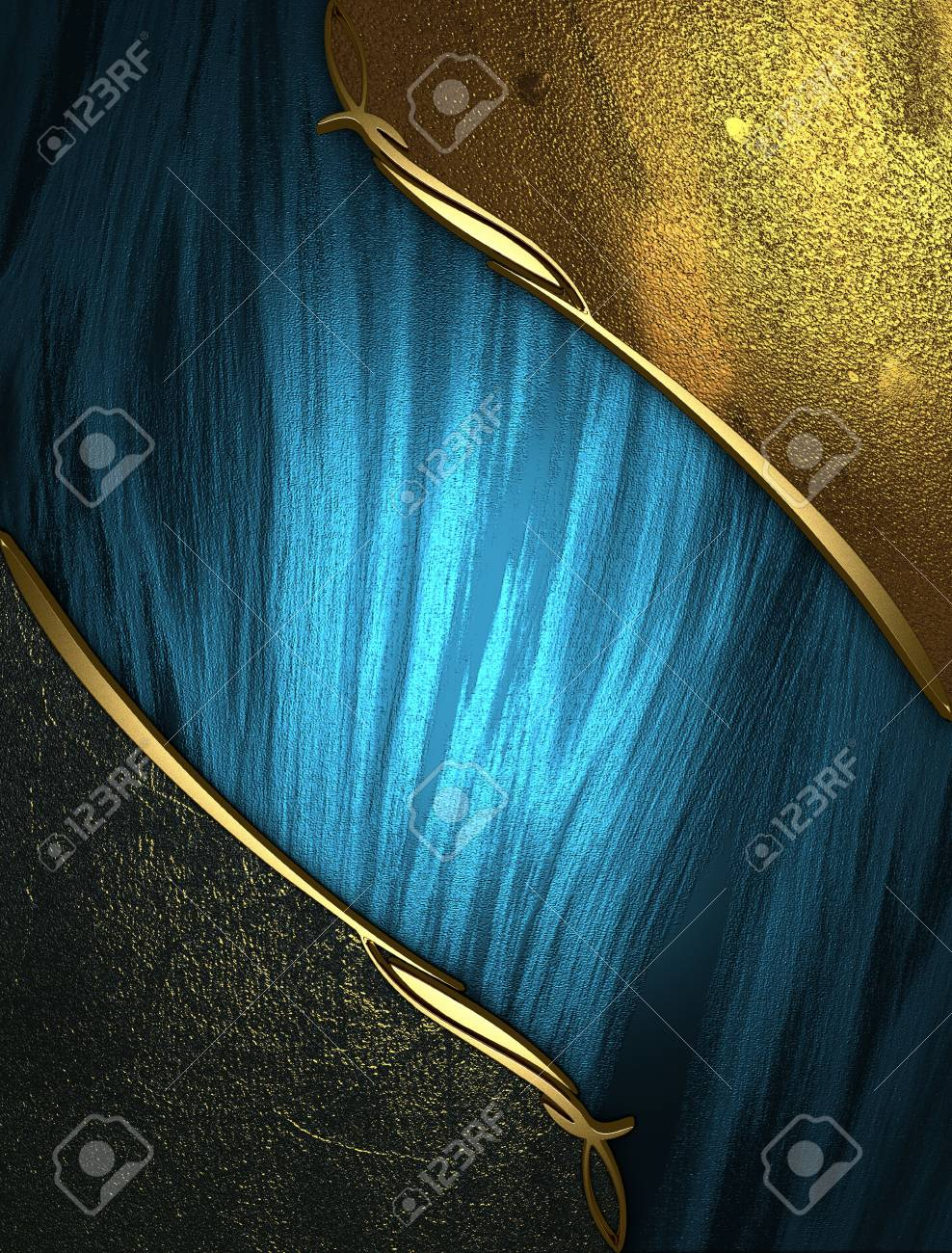 Design template - Blue rich texture with golden and black edges and gold trim Stock Photo - 17706444
