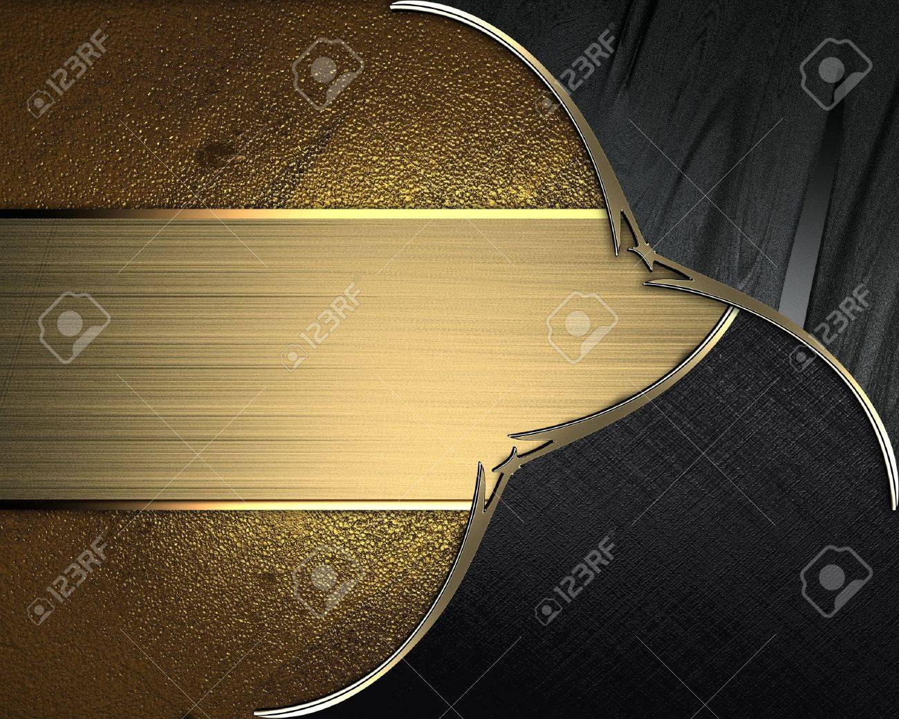Design template - Black plates with gold ornate edges, on gold background with gold nameplate Stock Photo - 17837330
