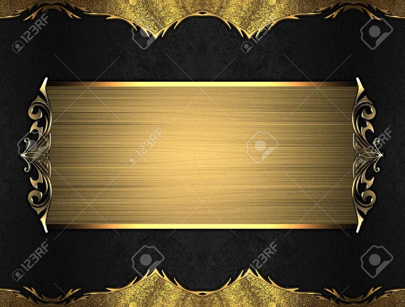 Fondo Negro Con Bordes De Oro Con Un Bello Acabado Y En La Placa De ...