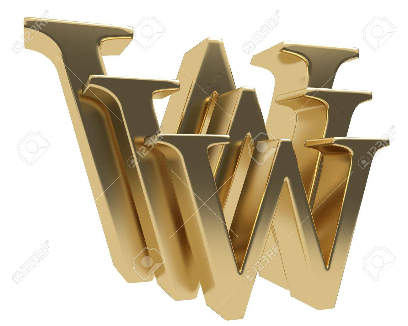 World wide web www glossy gold letter symbol isolated on white background Stock Photo - 20119606