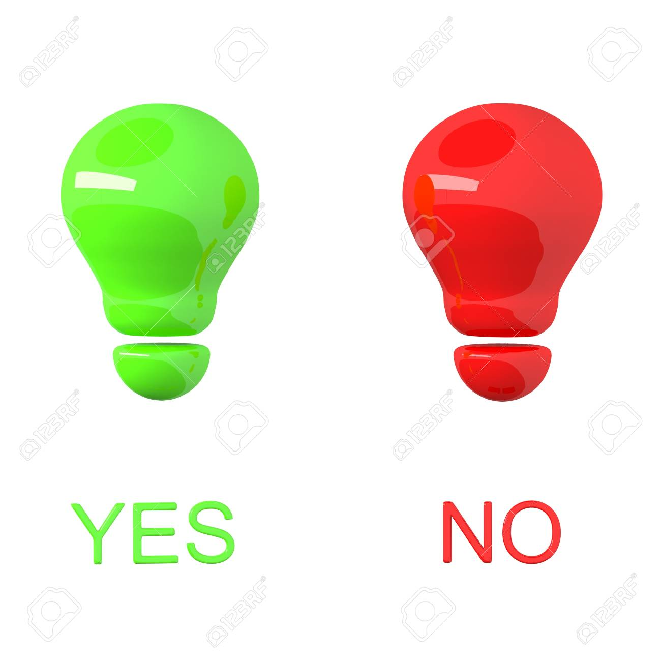 Yes and no as glossy green and red bulbs isolated Stock Photo - 20404159