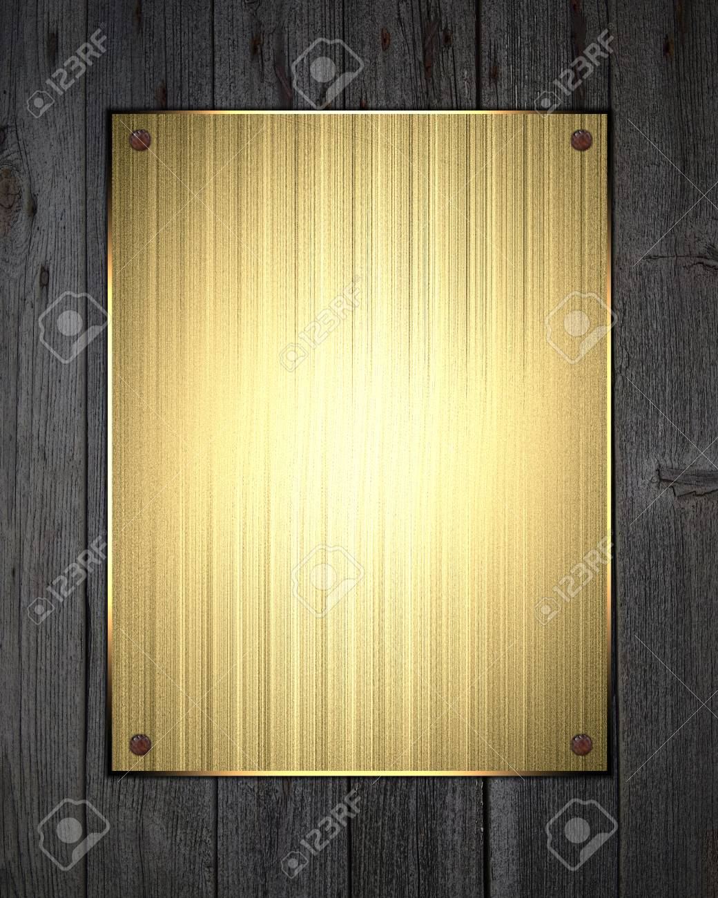 golden plate on wood background. design template. design site stock