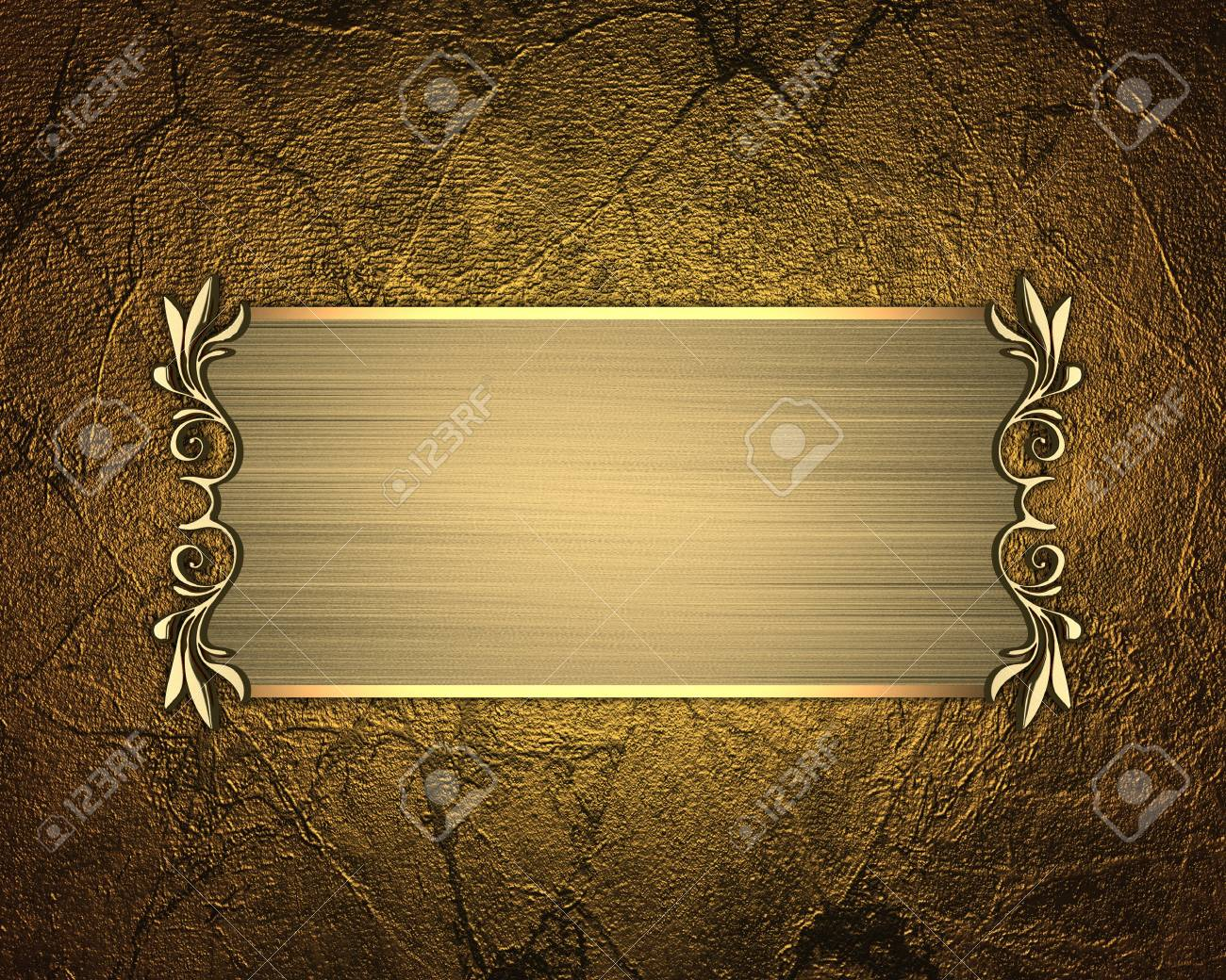 the template for the inscription gold background with gold