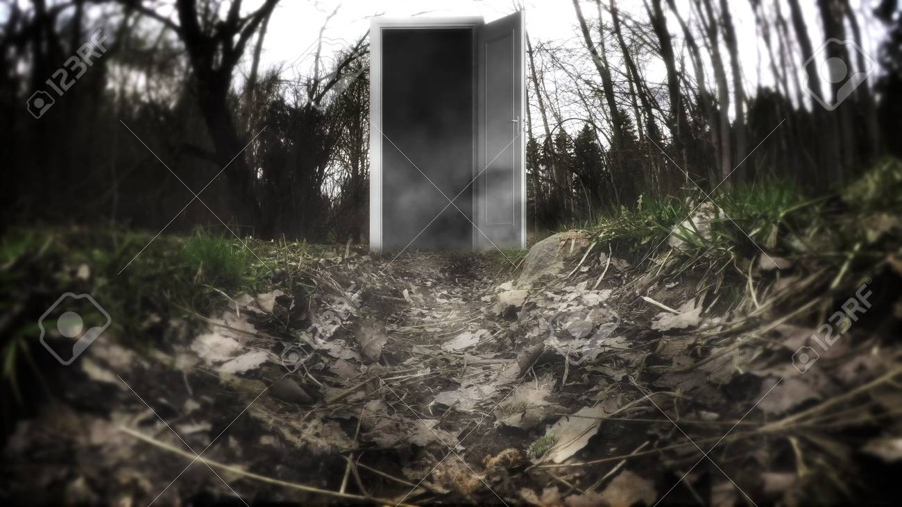 Stock Photo - The scary door in the Woods. Mystical forest with doors. A mysterious door with haze. & The Scary Door In The Woods. Mystical Forest With Doors. A ...