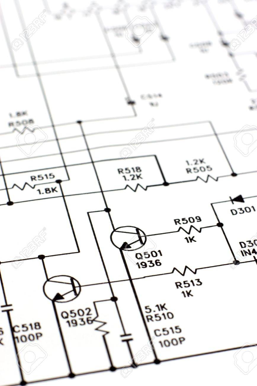 An electronic schematic diagram. Ideal technology background. Stock Photo - 3011879