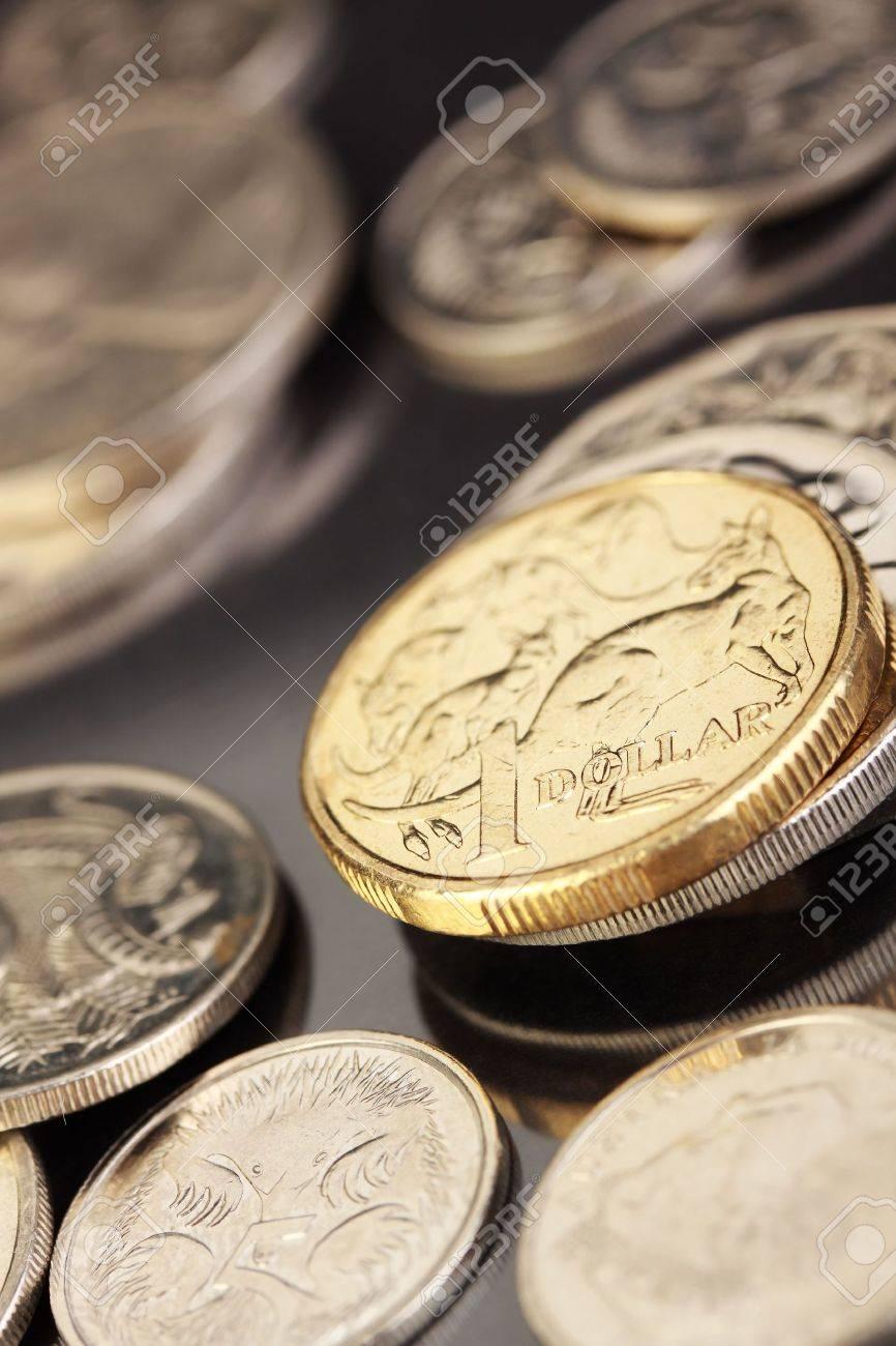 Verschiedene Australische Münzen Den Schwerpunkt Auf Gold 1 Dollar