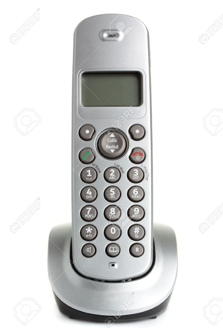 A Modern, Cordless Home Phone, Isolated On A White Background. Stock Photo