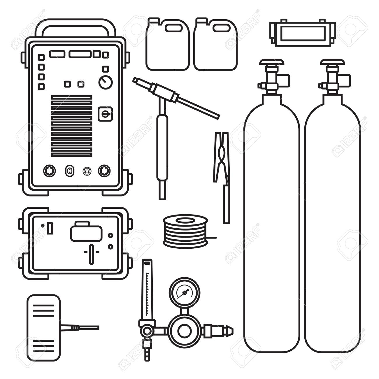 set of vector illustration gas welding argon machine with regulator tank  torch for industrial construction and