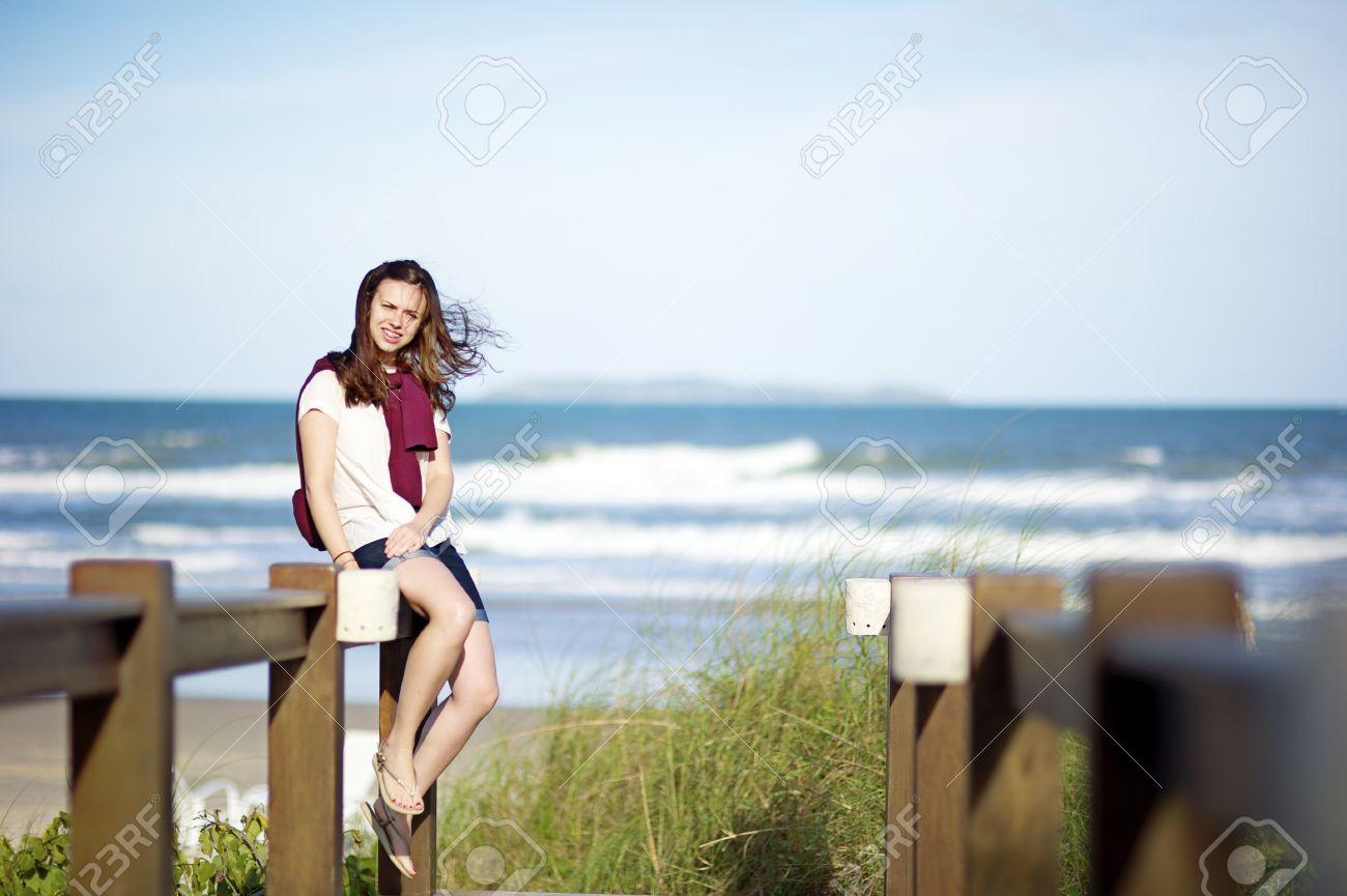 Woman on the beach of Mariscal in Bombinhas, Santa Catarina, Brazil Stock Photo - 11487543