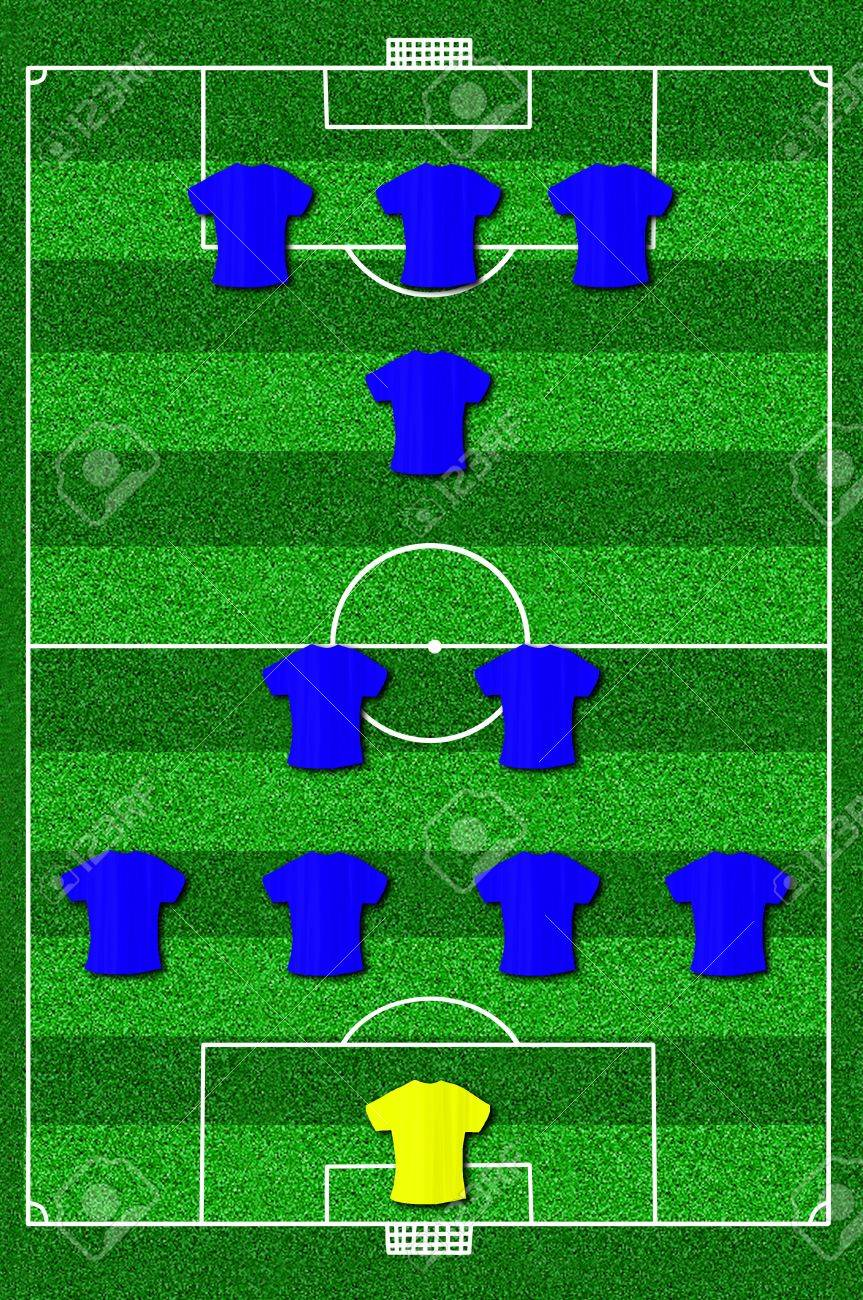 Soccer field layout with formation 4-2-1-3 Stock Photo - 13643581