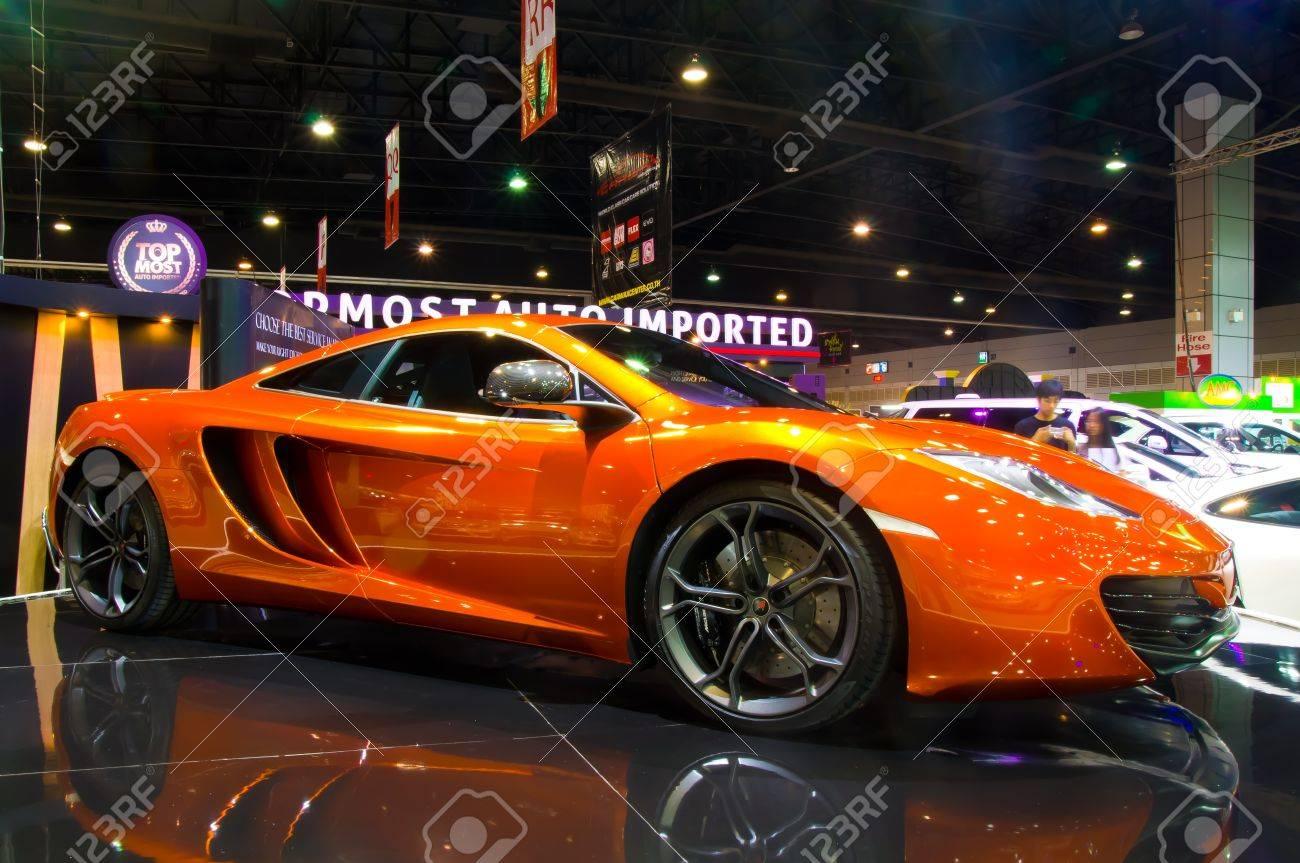 BANGKOK - May 20  The New McLaren MP4-12C on display at the  Super Car   Import Car Show at Impact Muang Thong Thani on May 20, 2012 in Bangkok, Thailand   Stock Photo - 13714561