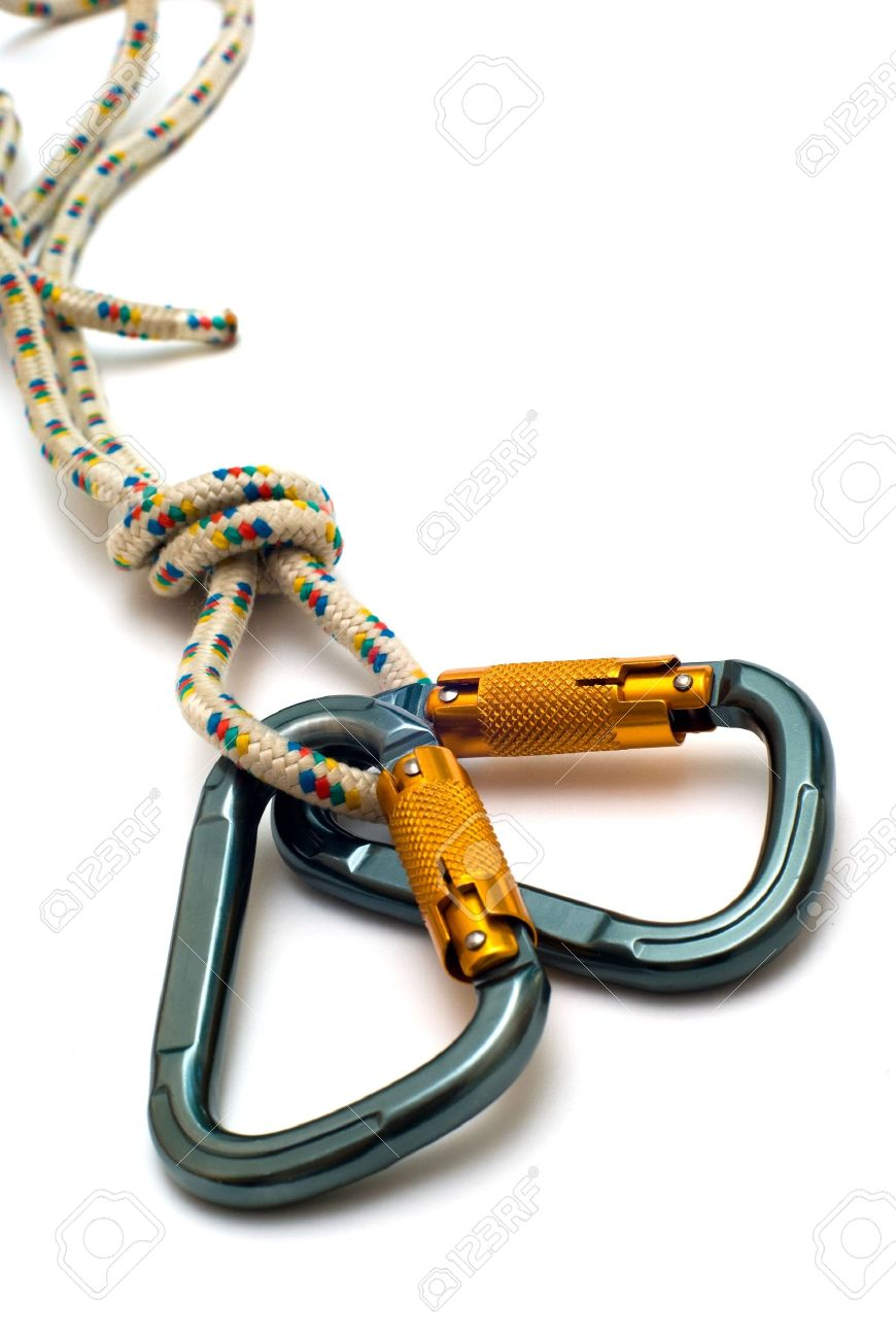 isolated two alpinism carabiners and rope - 5603435