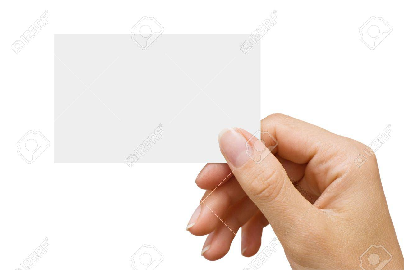 isolated empty business card in a women's hand - 5637446
