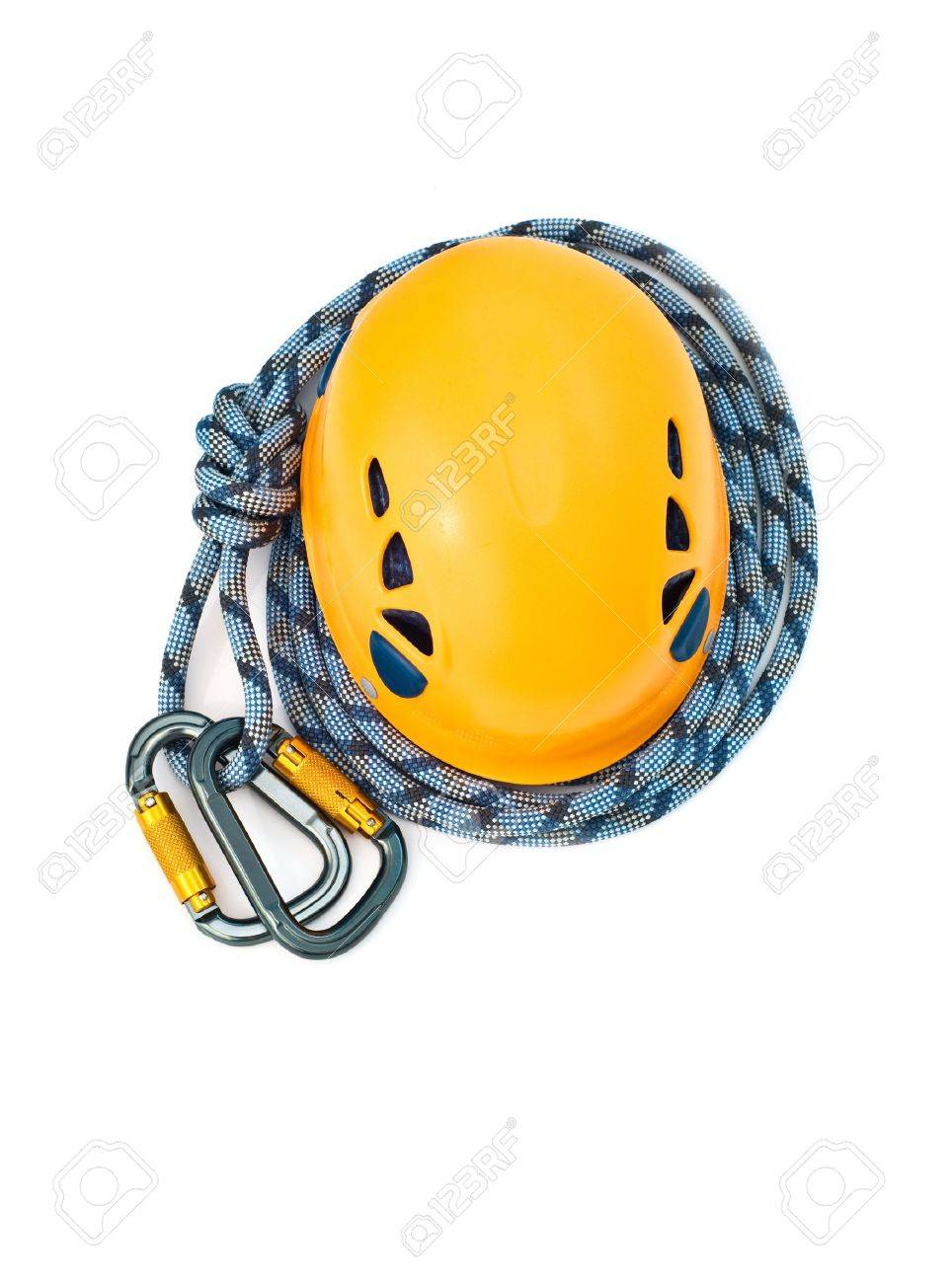 Isolated new climbing equipment - carabiners without scratches, orange climbing helmet and blue rope Stock Photo - 5637434