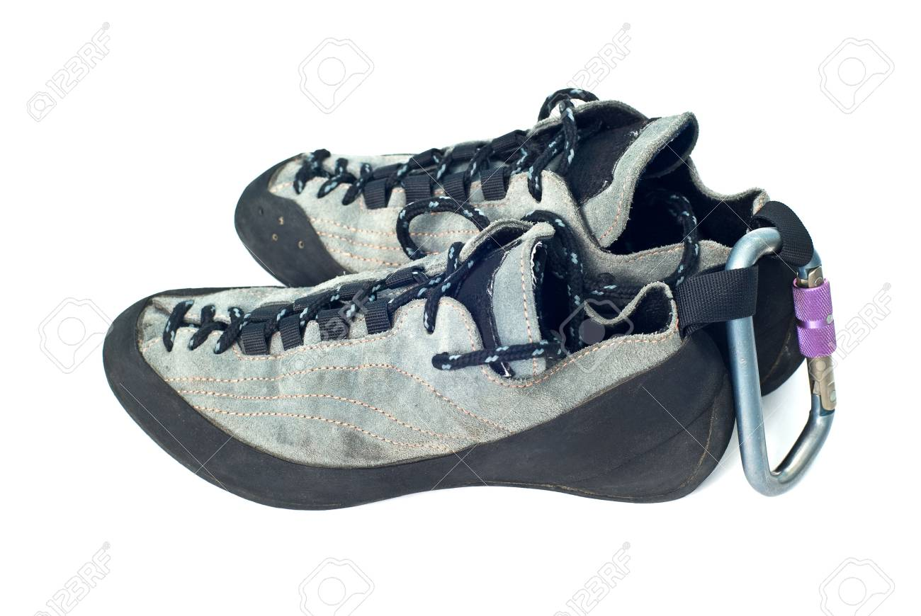 climbind equipment - carabiner and climbing shoes Stock Photo - 5880861