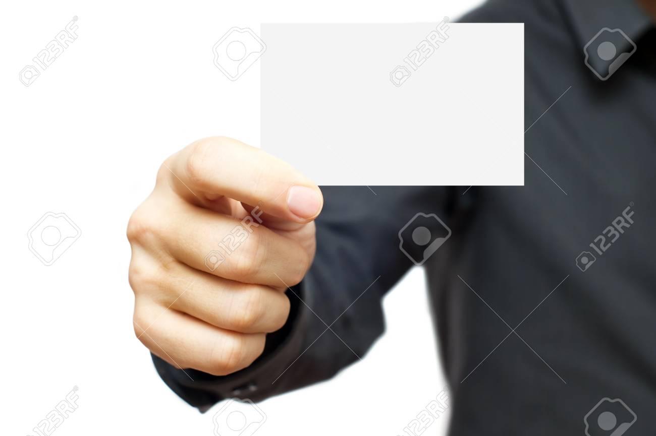 Businessmen in the dark shirt holding blank business card - 6275534