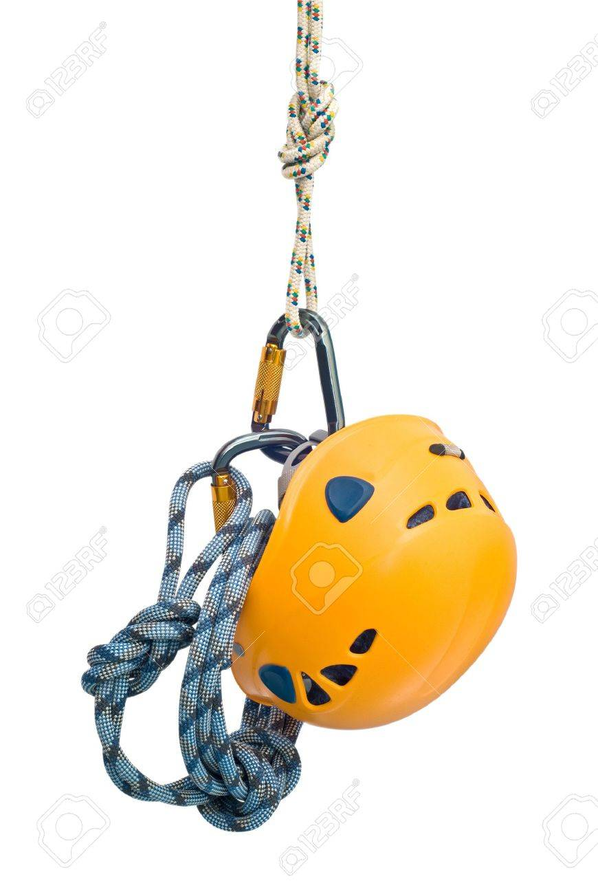 Isolated new climbing equipment - carabiners without scratches, yellow helmet and rope - 6972458