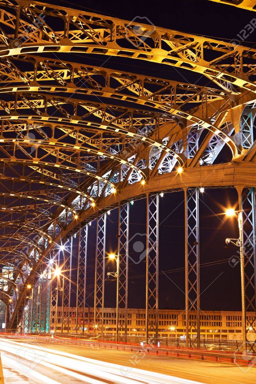 steel construction by night. Bolsheohtinskiy bridge in St. Petersburg. Russia - 7537435