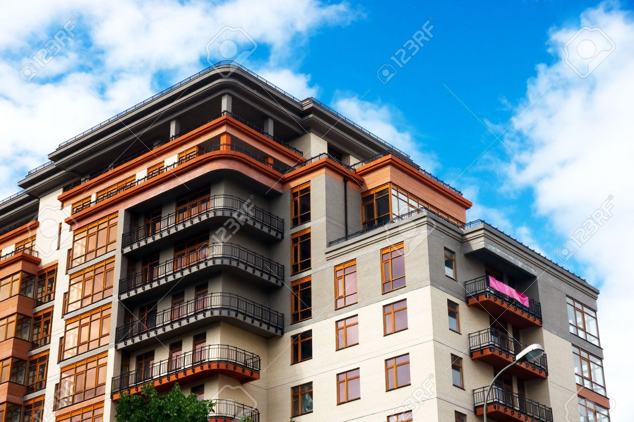 Modern apartments on the clear sky background - 7687964