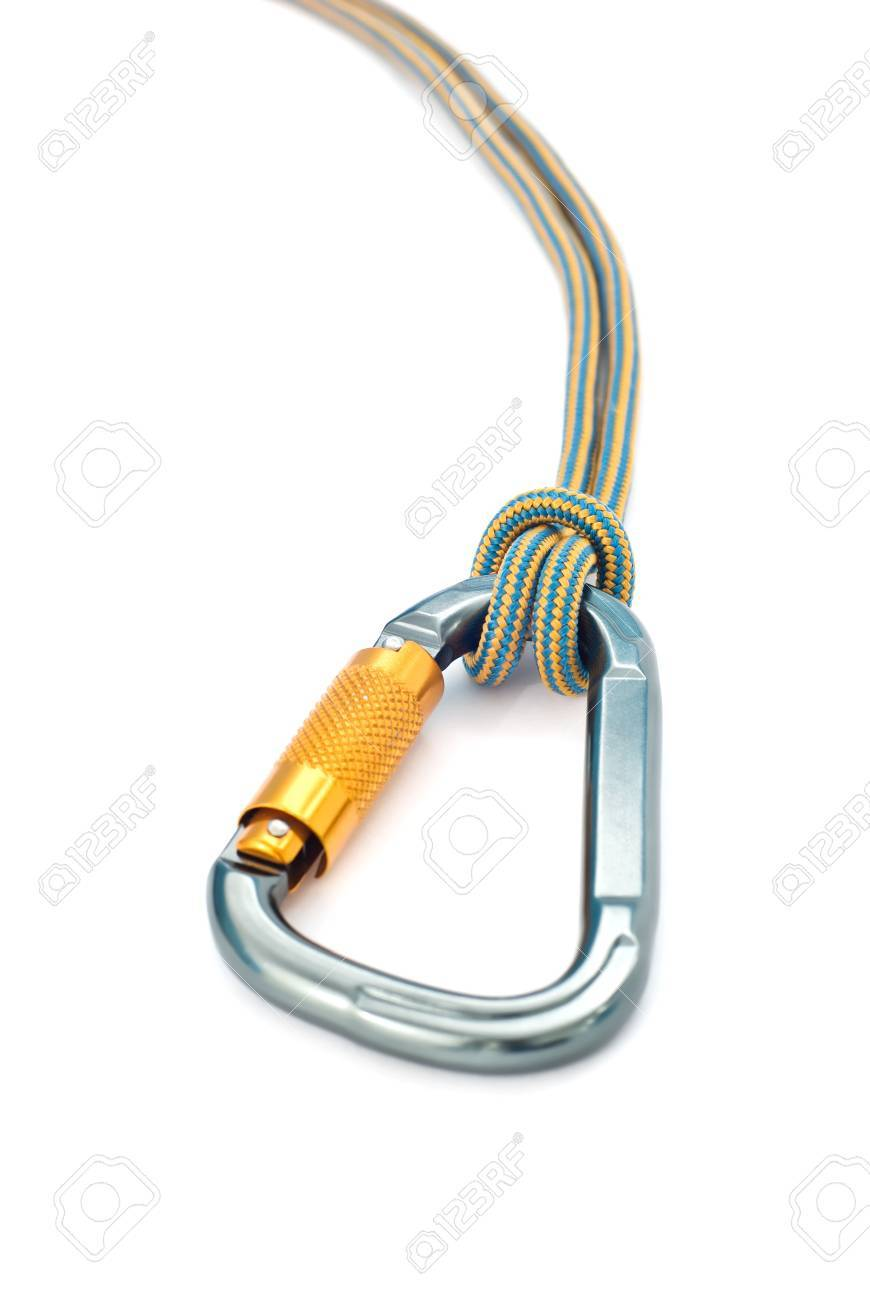 Isolated new climbing equipment - carabiner without scratches and blue rope Stock Photo - 7989525