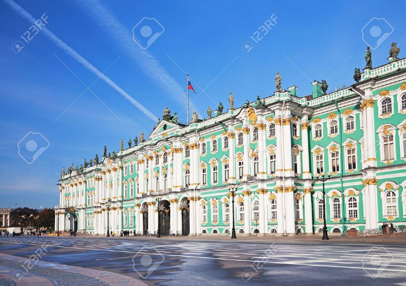 Winter Palace and Alexander Column on Palace Square in St. Petersburg/ Dvortsovaya Ploshchad in St. Petersburg - 8350504