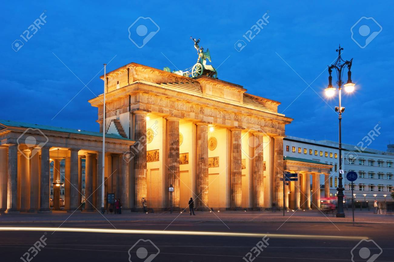 Brandenburg Gate in Berlin at night. Germany. - 8939567