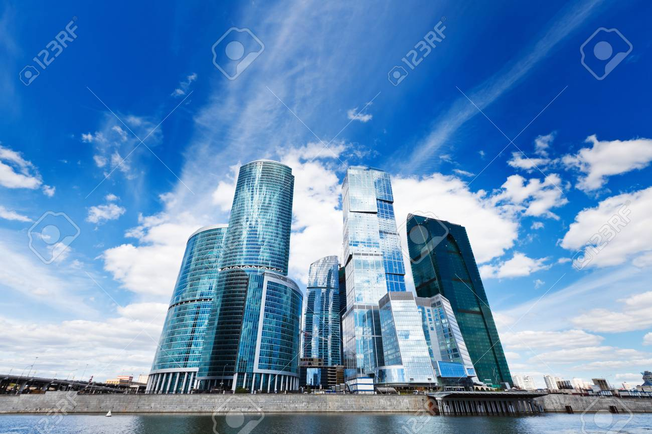 Contemporary business centre on the sky background - 9280449