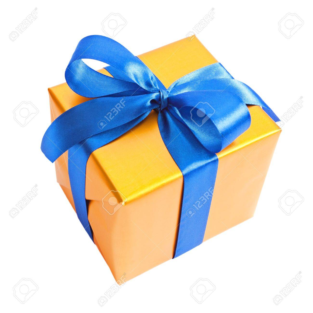 Yellow gift with blue ribbon isolated on white Stock Photo - 9280433
