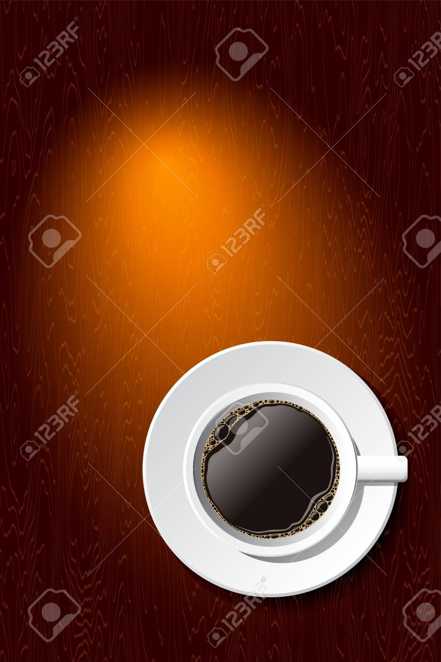 vector white cup of coffee on the desk with copyspace. eps10 - 9716192
