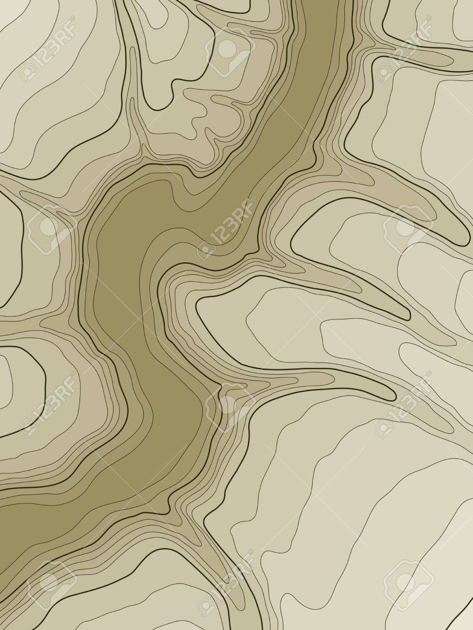 abstract topographic map in brown colors - 11041393