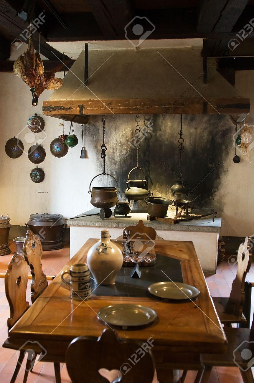 Vecchia cucina del castello di Kyburg, Svizzera