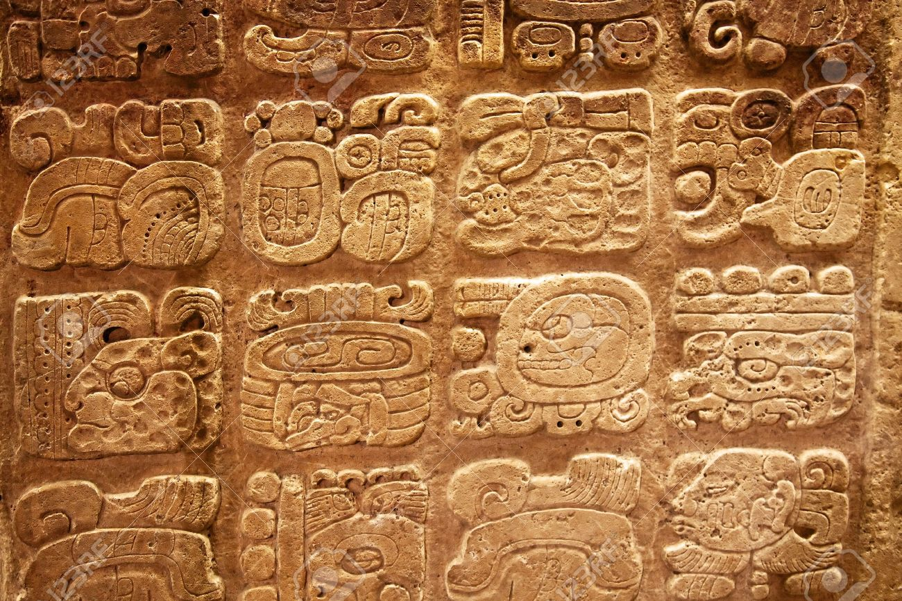 Mayan Hieroglyphs Carved On The Lime Stone Stock Photo Picture