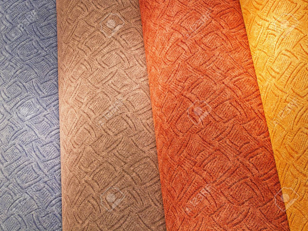 colorful carpet samples on the shelves Stock Photo - 9897623