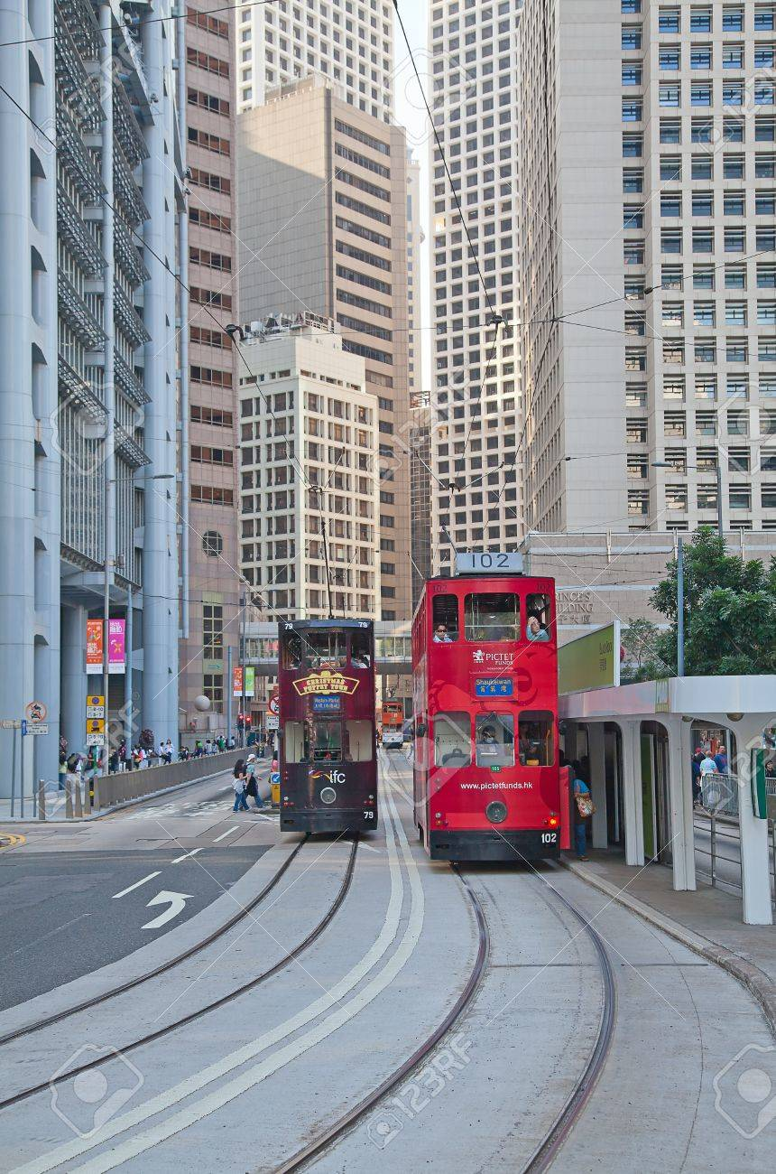 HONG KONG - DECEMBER 05: Unidentified people using city tram in Hong Kong on December 05, 2010. Tram in Hong Kong is the only tram system in the world run with double deckers and one of the main tourist attractions. Stock Photo - 11389967