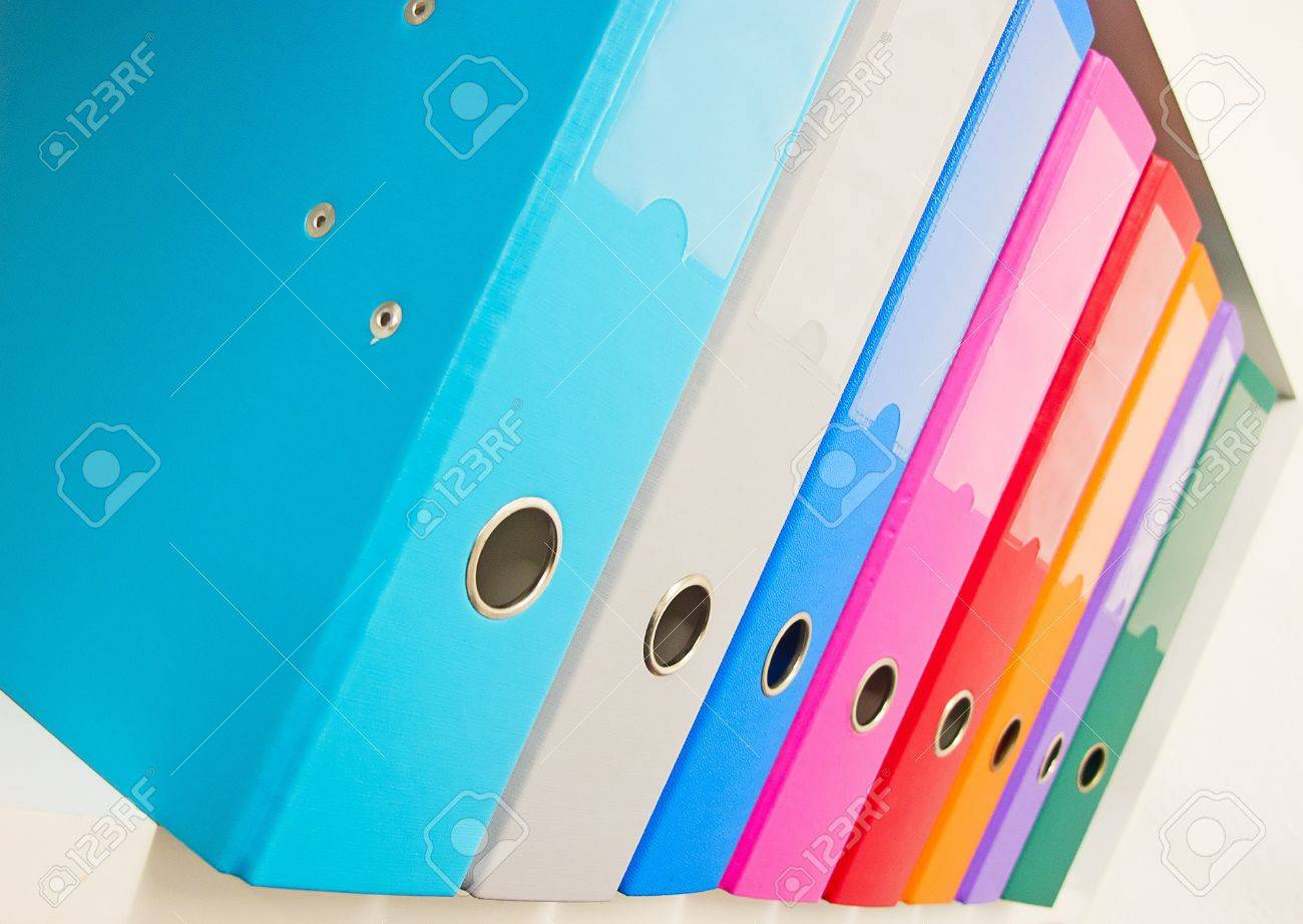 Colorful office binders on the bookshelf Stock Photo - 11717537