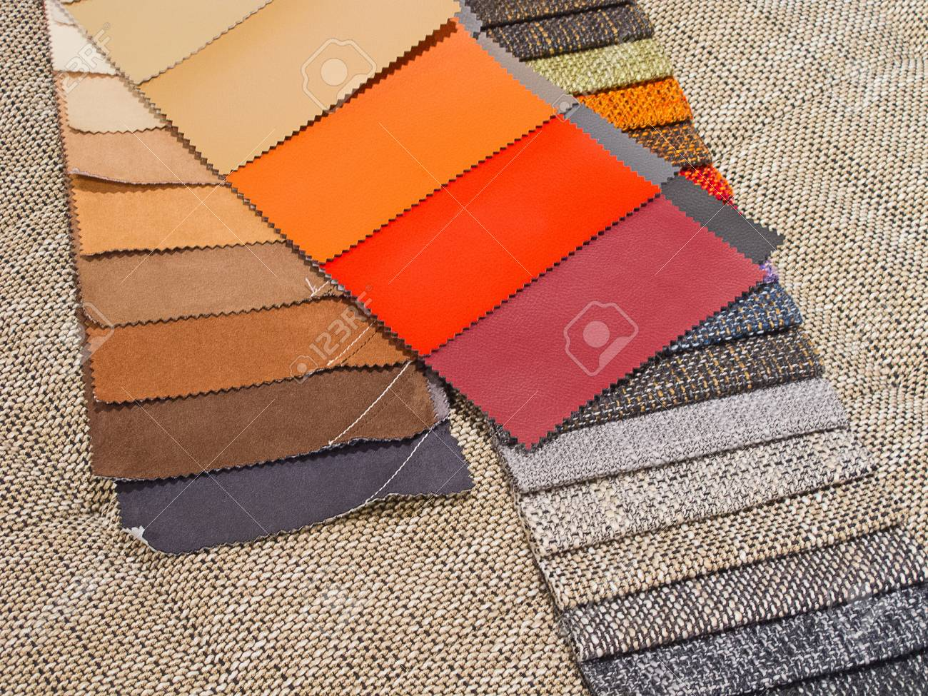 Colorful upholstery samples in the shop Stock Photo - 13814334