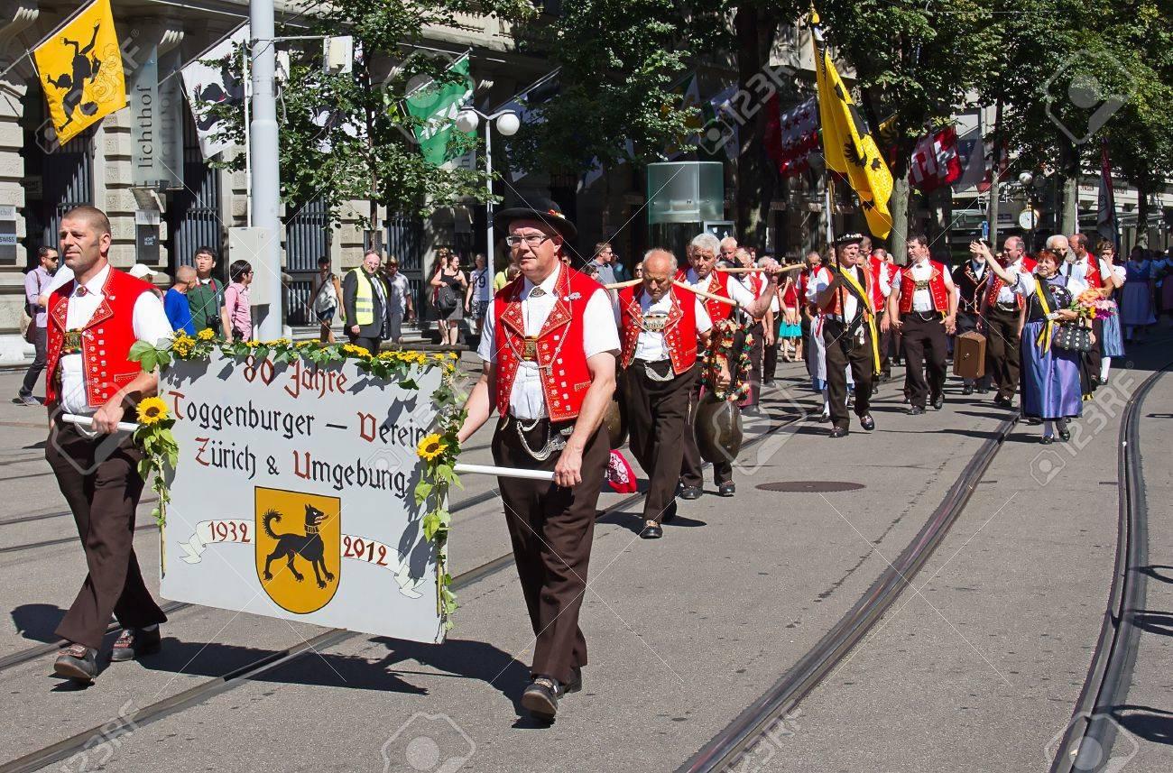 ZURICH - AUGUST 1: Swiss National Day parade on August 1, 2012 in Zurich, Switzerland. Representative of Toggenburg (canton Appenzeller) in a historical costume. Stock Photo - 15791908