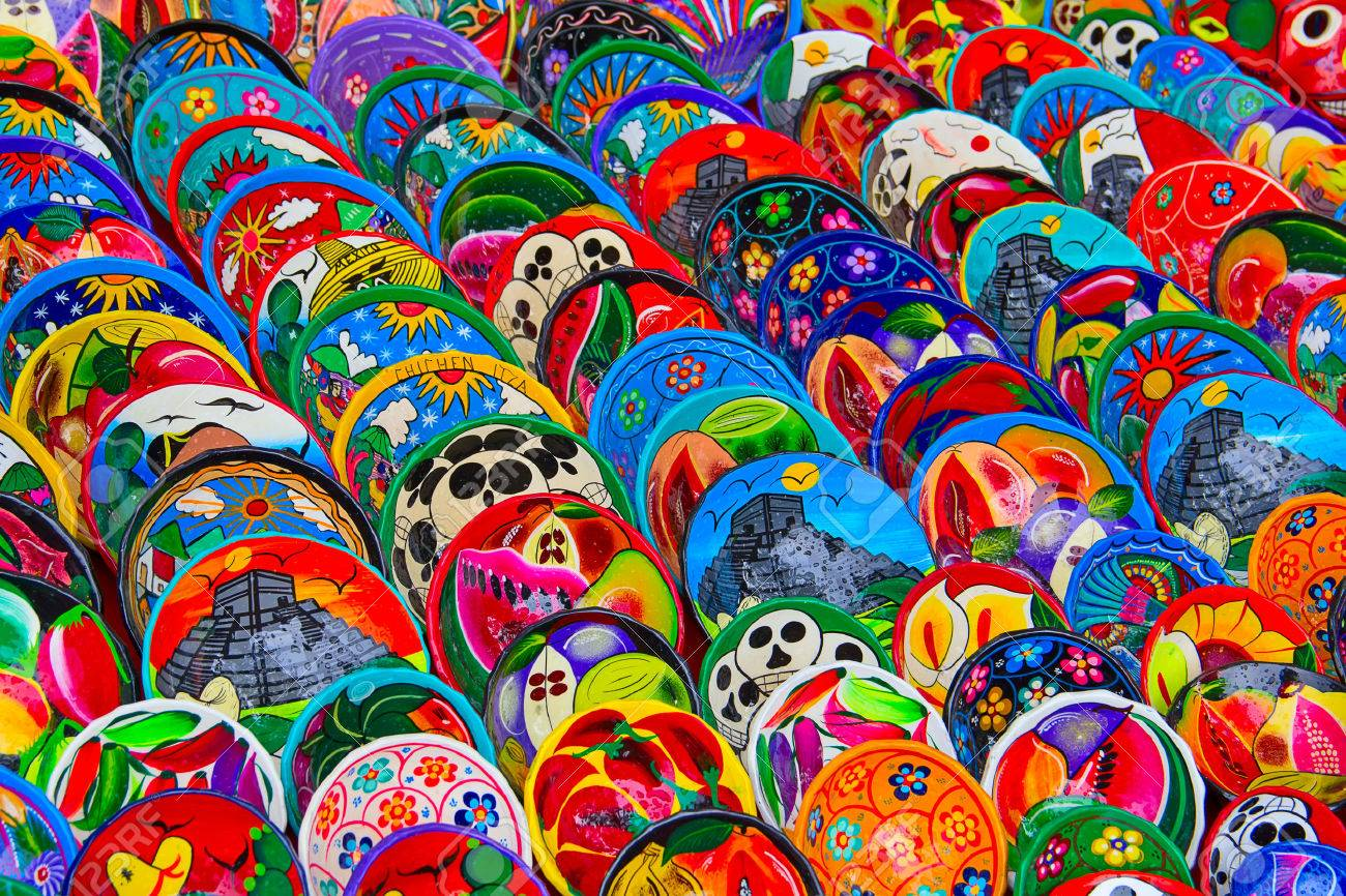 Colorful traditional mexican ceramics on the street market - 46152158