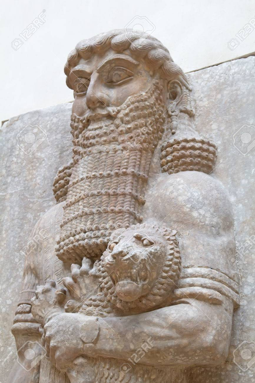 Ancient sumerian stone carving with cuneiform scripting - 58798576