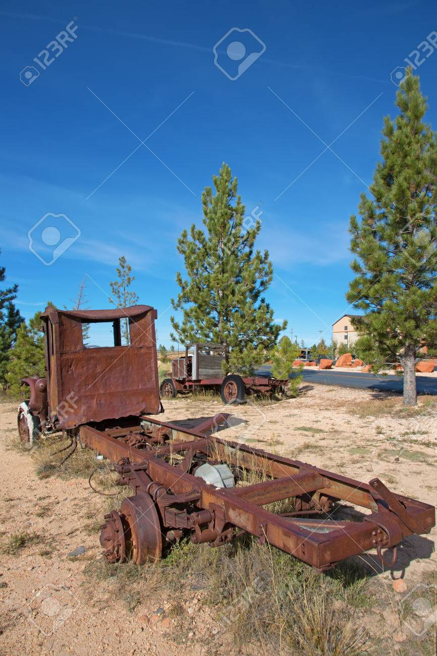 Abandond Rusty Wrecks Of The Old Car Stock Photo, Picture And ...