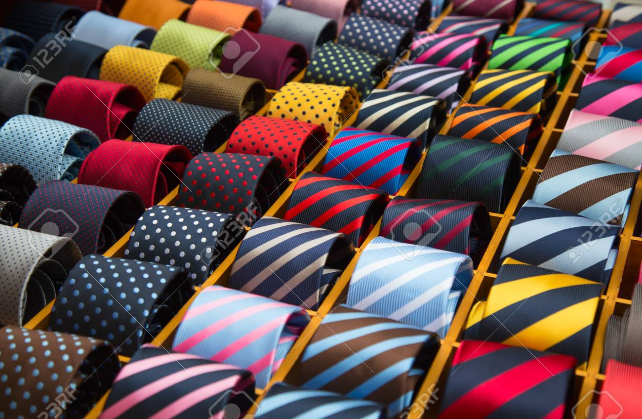 Colorful tie collection in the men's shop - 77242072