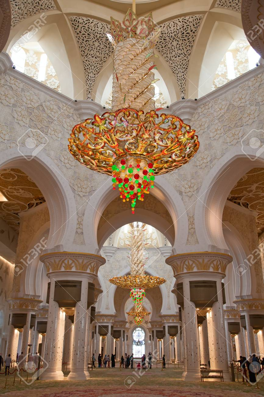 Abu Dhabi Uae April 23 2014 Interior Of Sheikh Zayed Mosque Stock Photo Picture And Royalty Free Image Image 79531991