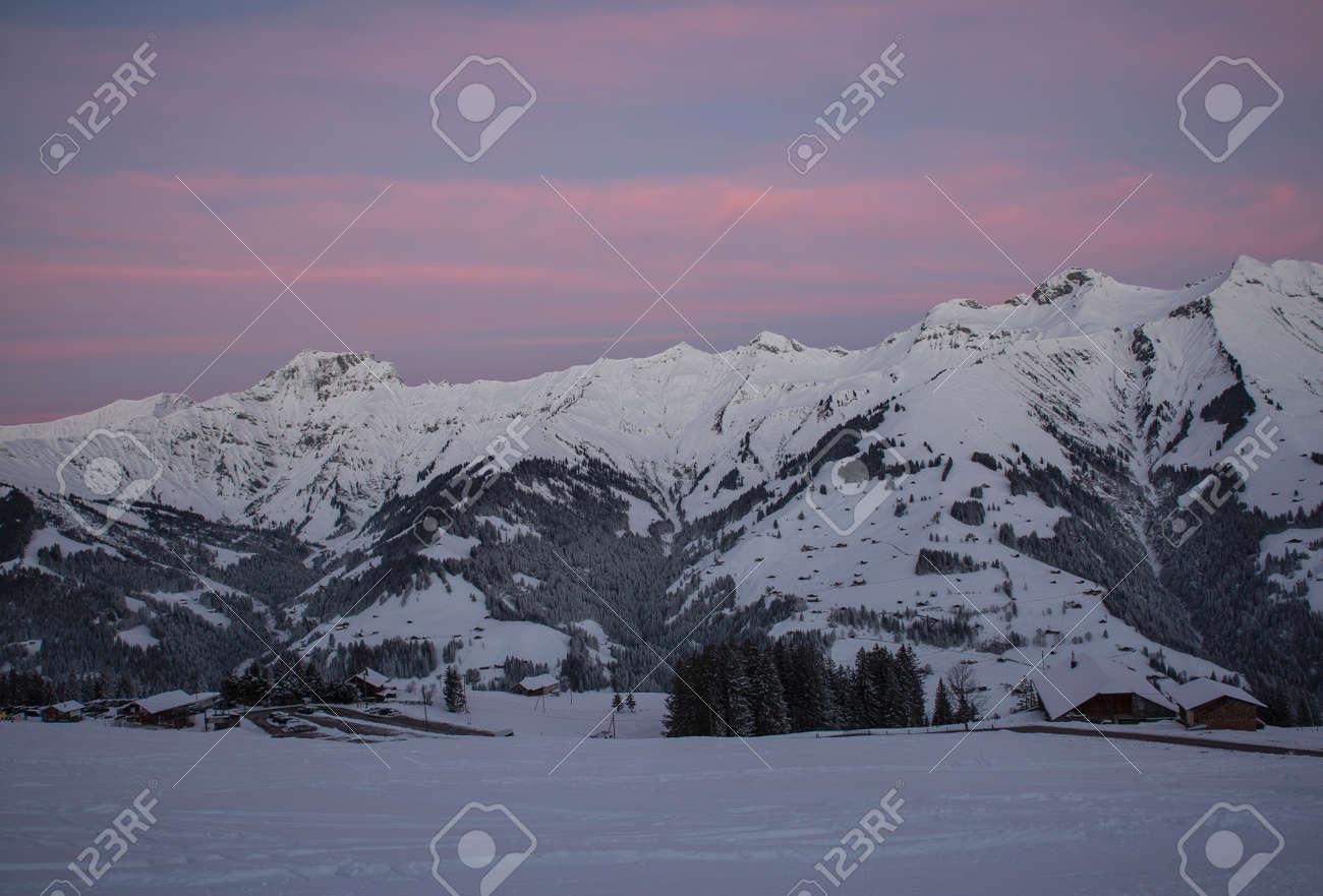 Sunrise in Adelboden region Elsigen Bernese Oberland in winter - 165972193